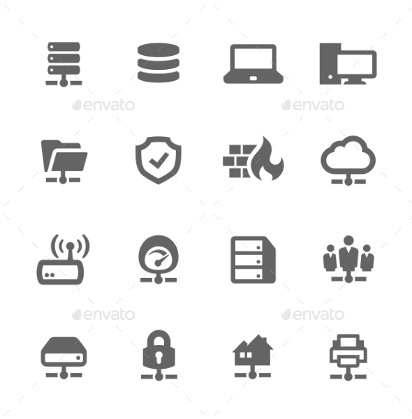 GraphicRiver Network and Servers Icons 9497393