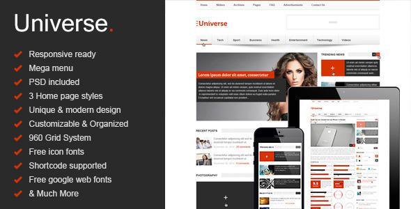 Universe - Responsive HTML5 Magazine - News, Blog - Creative Site Templates