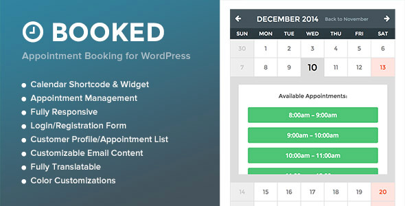 Last Updated December 20th: v1.2.1 — View the Changelog WHAT IS BOOKED? Booked is a powerful and easy-to-use appointment booking plugin for Wo