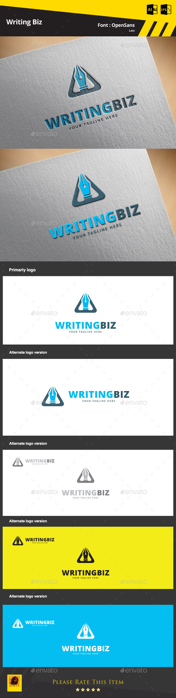 GraphicRiver Writing Biz Logo Template 9498672