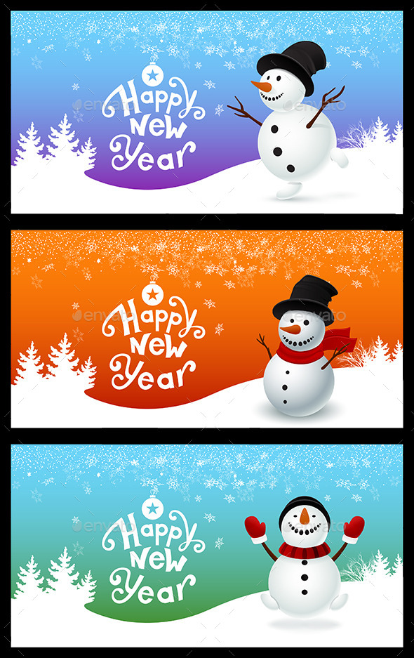 GraphicRiver Holiday Card with a Snowman 9498683