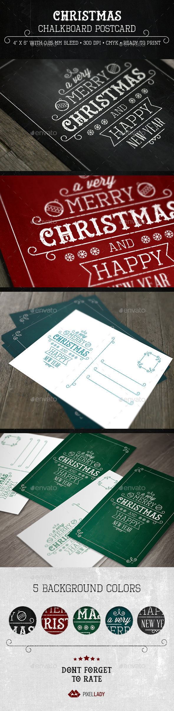 GraphicRiver Christmas Chalkboard Postcard 9498822