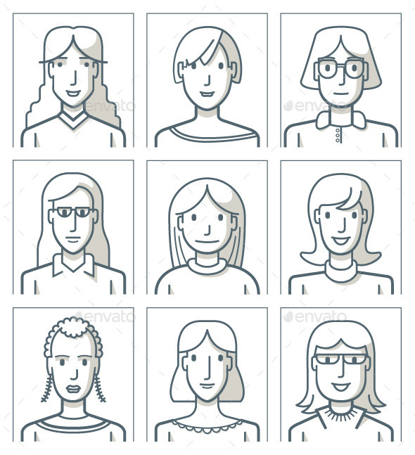 GraphicRiver Nine Female Avatars 9499020