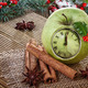 Christmas clock  in an apple with winter decoration - PhotoDune Item for Sale
