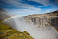 Dettifoss Waterfall in Iceland under a blue summer sky with clou - PhotoDune Item for Sale