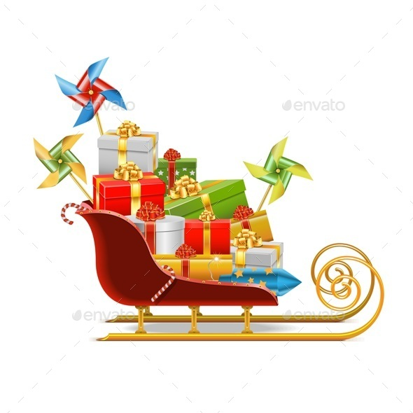 GraphicRiver Sled with Gifts 9499534