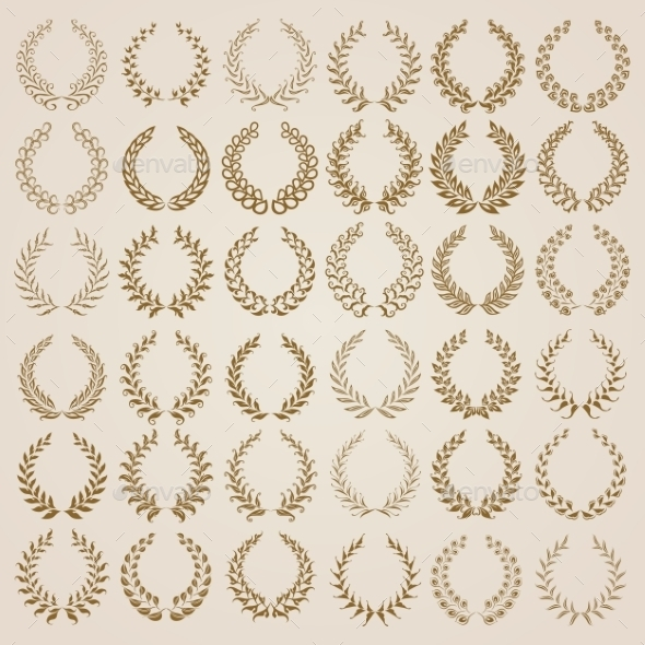 GraphicRiver Set of Gold Laurel Wreaths 9499535