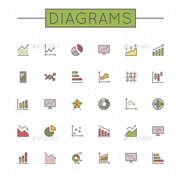 GraphicRiver Vector Colored Diagrams Line Icons 9499541