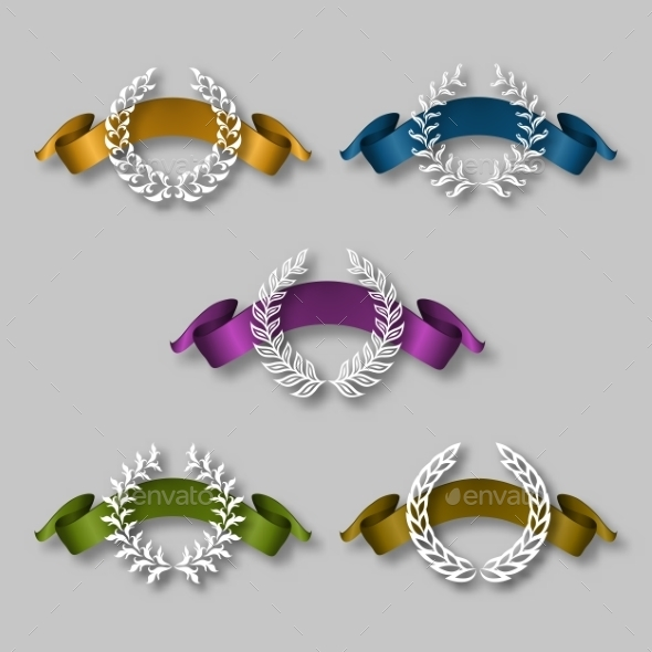 GraphicRiver Set of Golden Laurel Wreaths 9499547