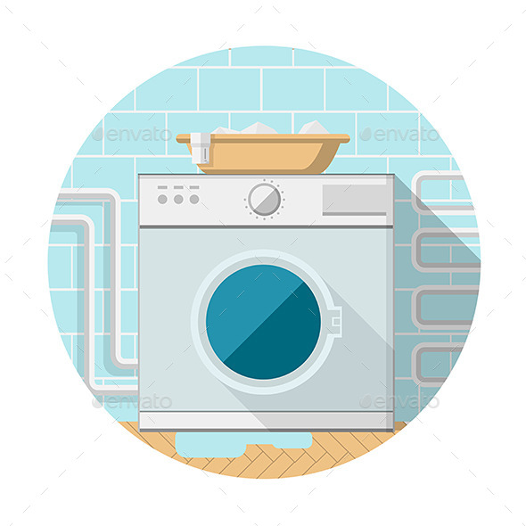 GraphicRiver Flat Icon of Washing Machine in Bathroom 9499809