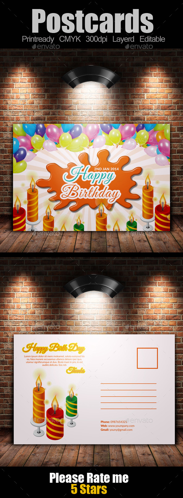 GraphicRiver Birth Day Invitation Postcard 9499824