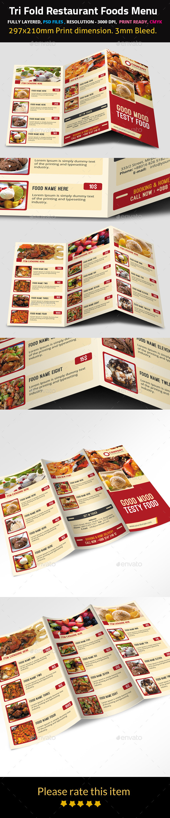 GraphicRiver Tri Fold Restaurant Foods Menu 9500024