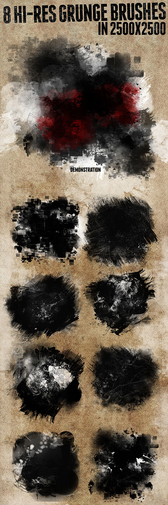 GraphicRiver 8 Hi-res Grunge Brushes 9500460