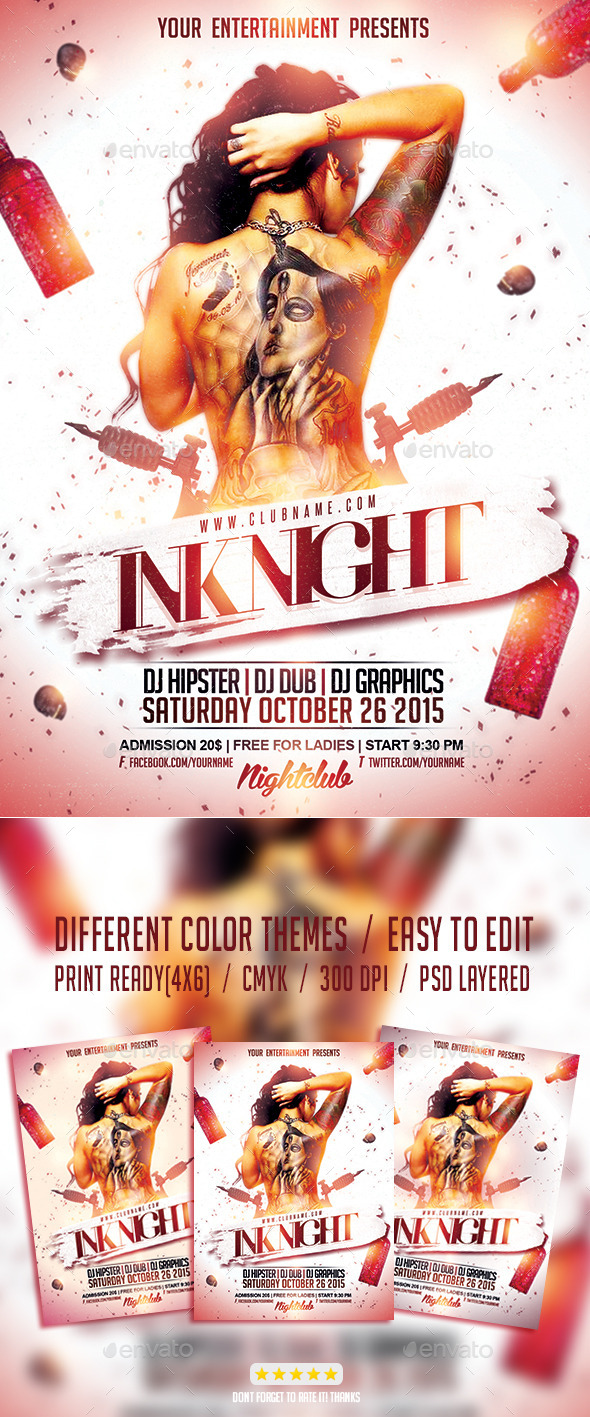 GraphicRiver Ink Tattoo Night PSD Flyer Template 9500888