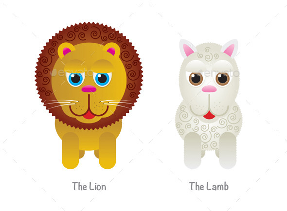 GraphicRiver Vector Cute Lion and Lamb Illustrations 9502631