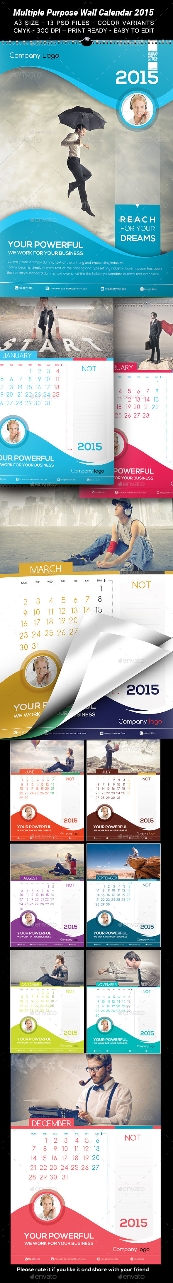 GraphicRiver Multiple Purpose Wall Calendar 2015 9502669