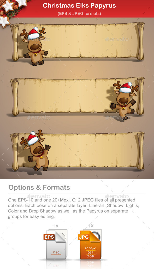GraphicRiver Christmas Elks Papyrus 9502702