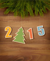 2015 with a Christmas tree on wooden background - PhotoDune Item for Sale