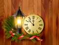 Christmas background with a lantern and a clock - PhotoDune Item for Sale