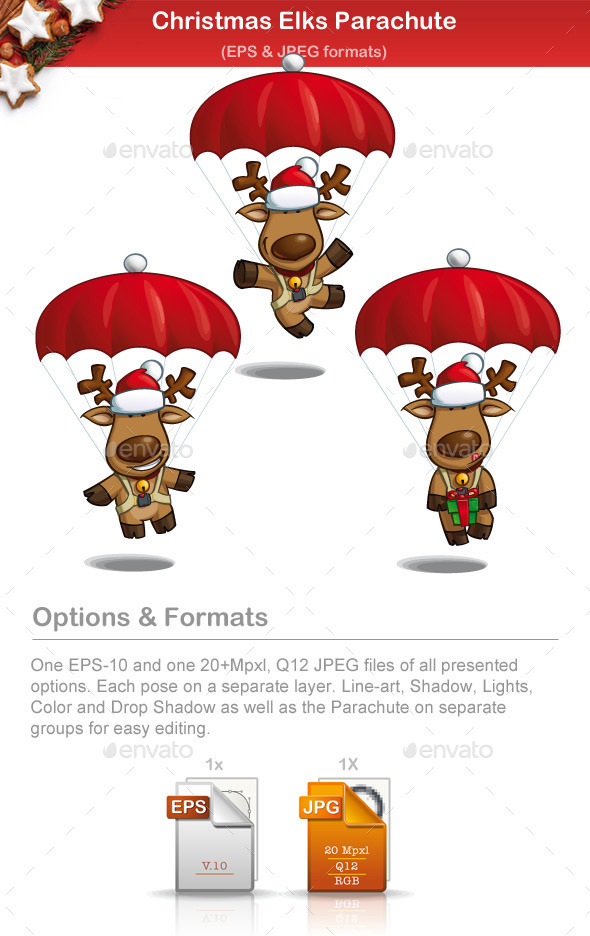 GraphicRiver Christmas Elks Parachute 9502744