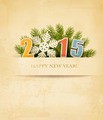 2015 with a snowflake on old paper background.  - PhotoDune Item for Sale