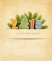 2015 with a Christmas tree on old paper background.  - PhotoDune Item for Sale