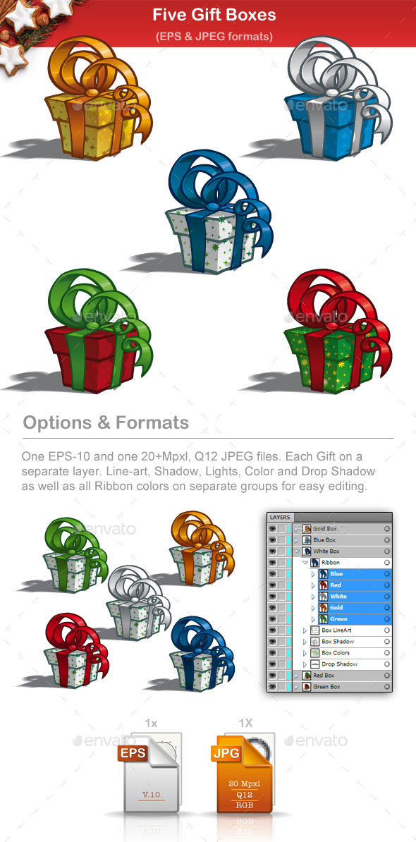GraphicRiver Five Gift Boxes 9502770