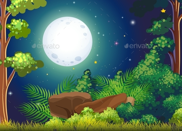 GraphicRiver Forest with Full Moon Landscape 9502933