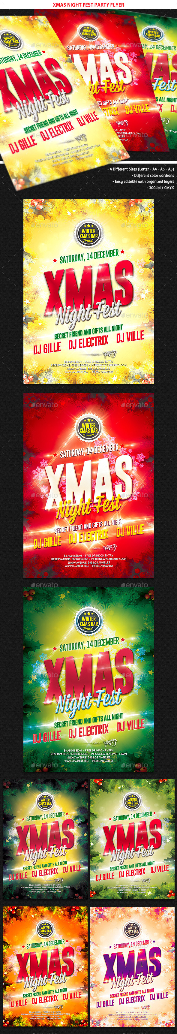 GraphicRiver Xmas Night Fest Party Flyer 9503029