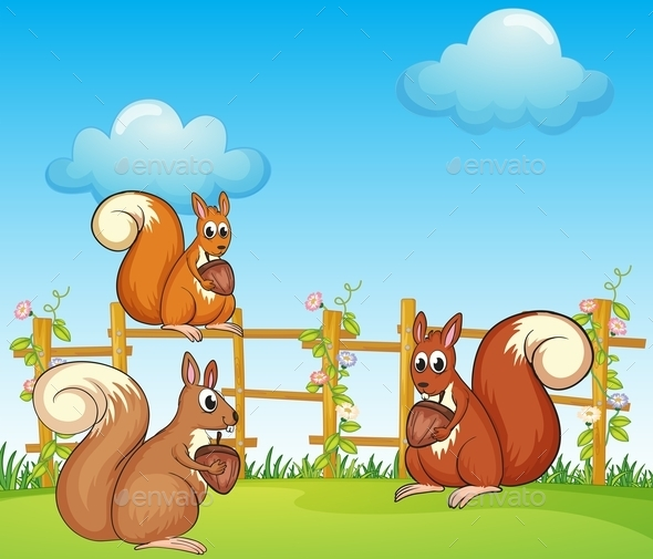 GraphicRiver Squirrels at the Garden 9503041