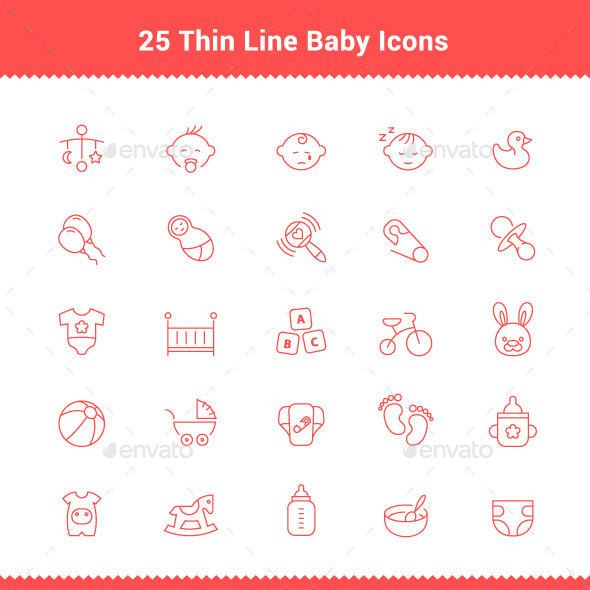 GraphicRiver 25 Thin Line Stroke Baby Icons 9503176