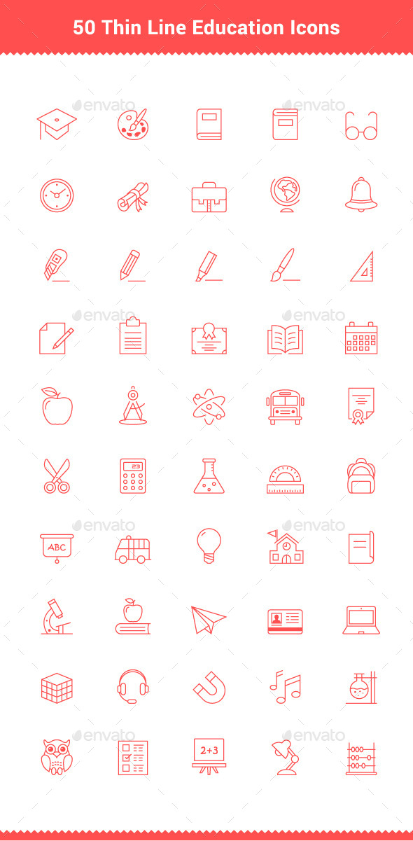 GraphicRiver 50 Thin Line Stroke Education Icons 9503350