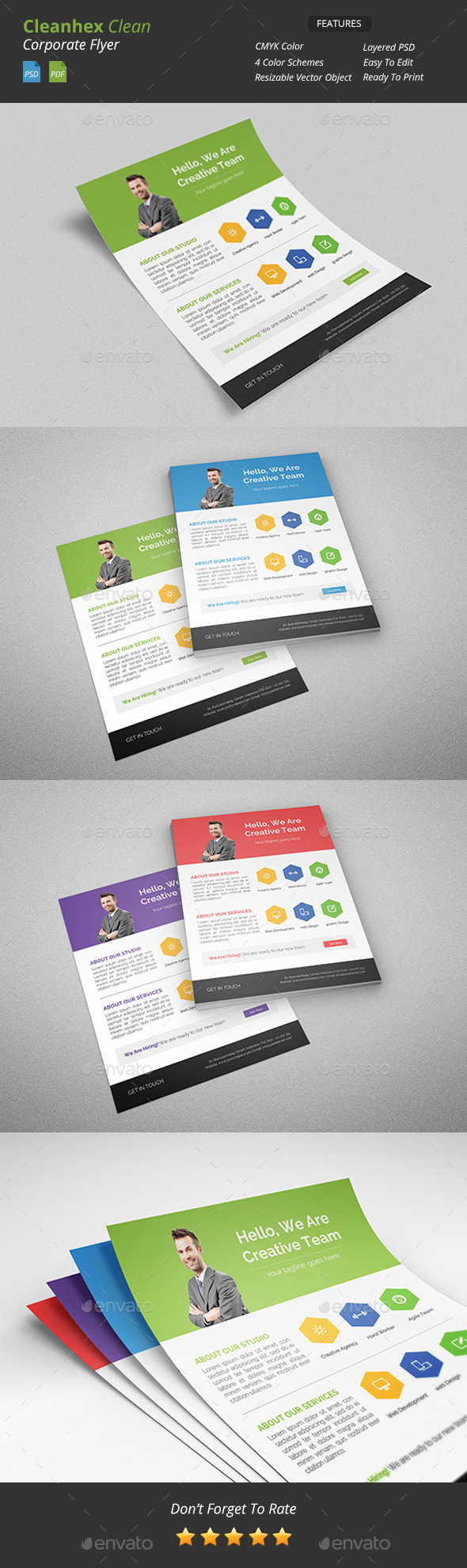 GraphicRiver Cleanhex Clean Corporate Flyer 9503767