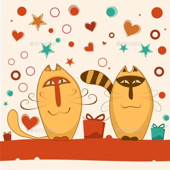 GraphicRiver Valentine Day Cats 9503783