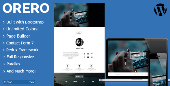 ThemeForest Orero Responsive One Page vCard WordPress Theme 9503791