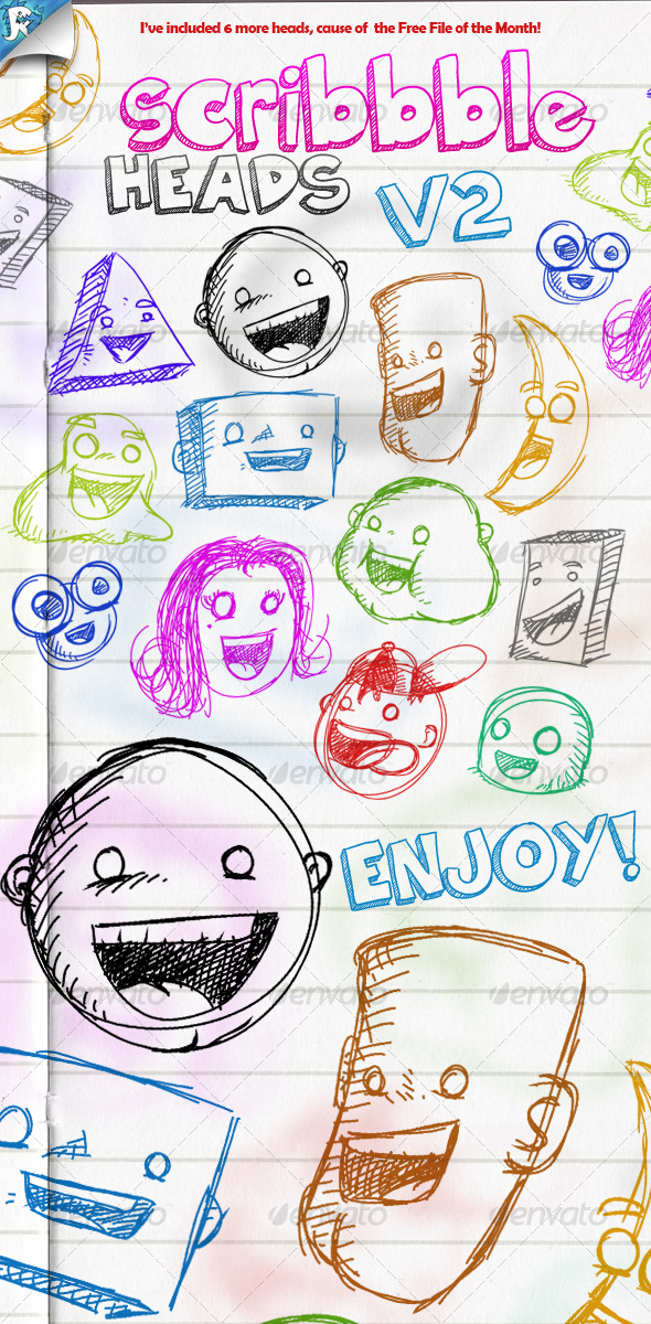 Scribble Heads - Vector Pack - People Characters