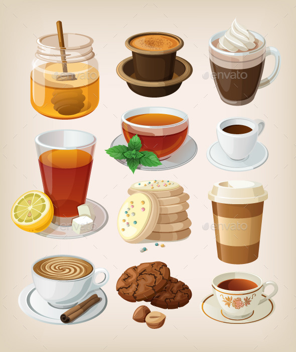 GraphicRiver Set of Hot Drinks and Desserts 9504083