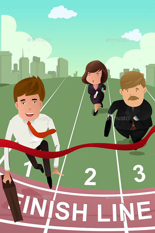 GraphicRiver Business People running in Competition 9504229