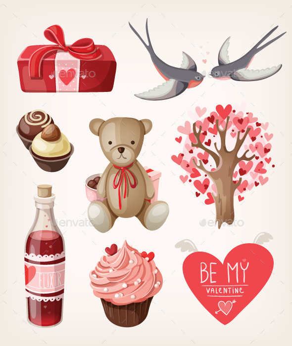 GraphicRiver Set of Romantic Items for Valentine Day 9504457