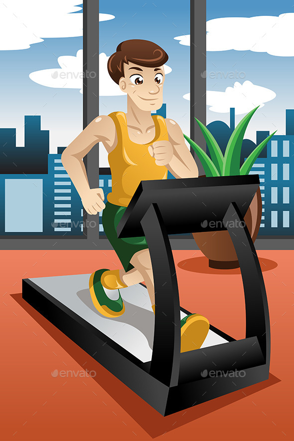 GraphicRiver Man running on Treadmill 9504701