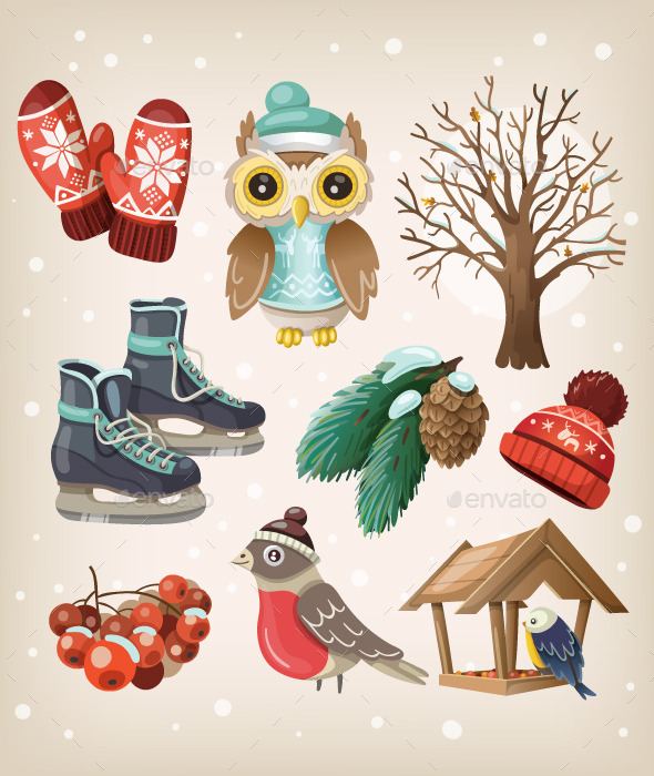 GraphicRiver Set of Winter Items and Elements 9507852