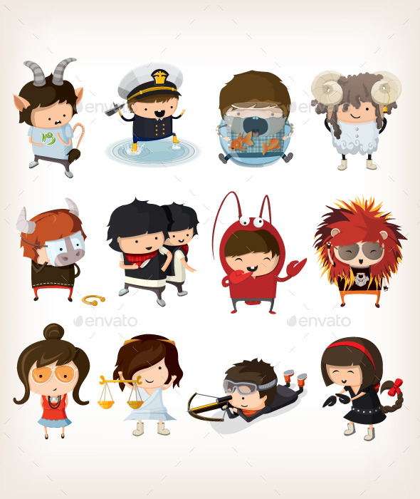 GraphicRiver Boys and Girls Dressed Like Signs of Zodiac 9508907