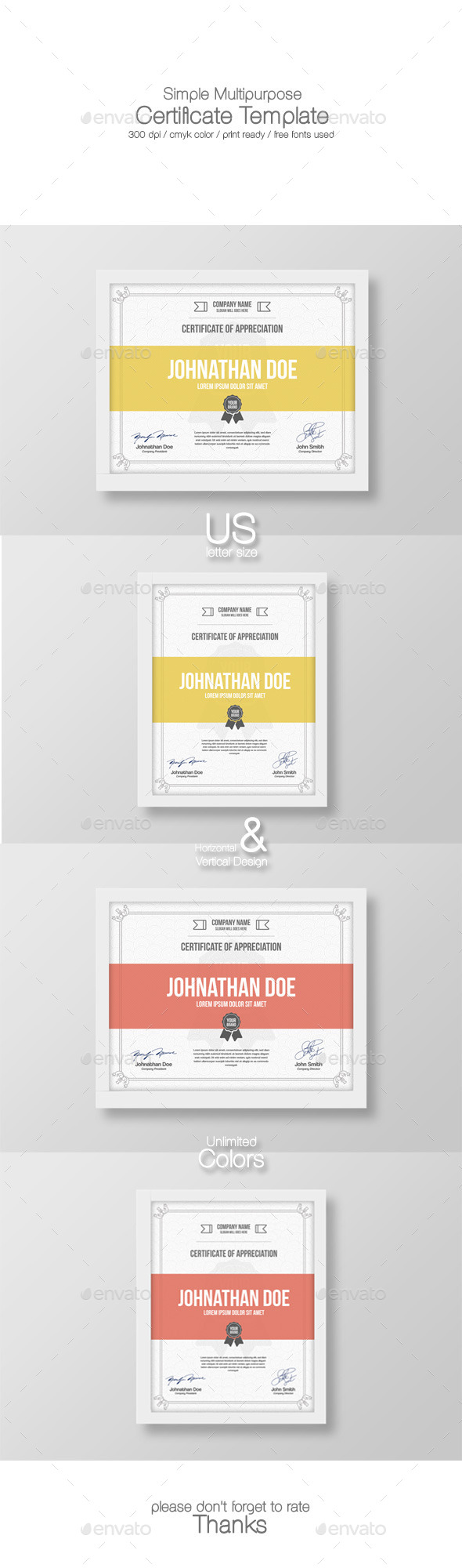 GraphicRiver Simple Multipurpose Certificate Template 9508918