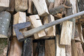 Split logs cut down for firewood with ax  - PhotoDune Item for Sale