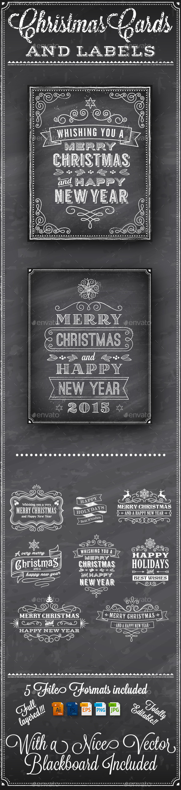 GraphicRiver Christmas Vector Chalkboard Labels 9509775