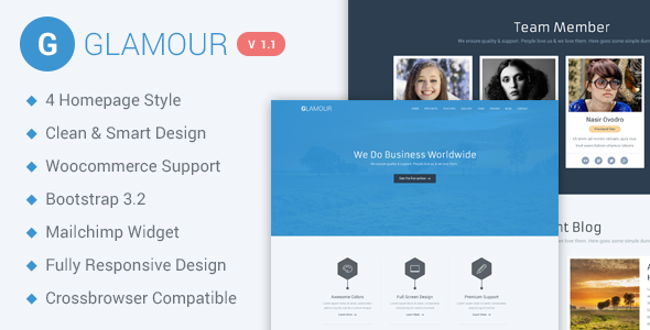 ThemeForest Glamour Responsive Parallax WP Business Template 9509787