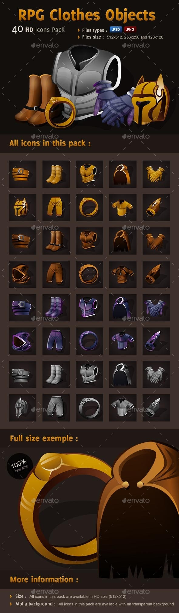 GraphicRiver RPG Icons Pack Clothes Objects 9509844