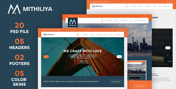 ThemeForest Mithiliya Multipurpose PSD Theme 9463465
