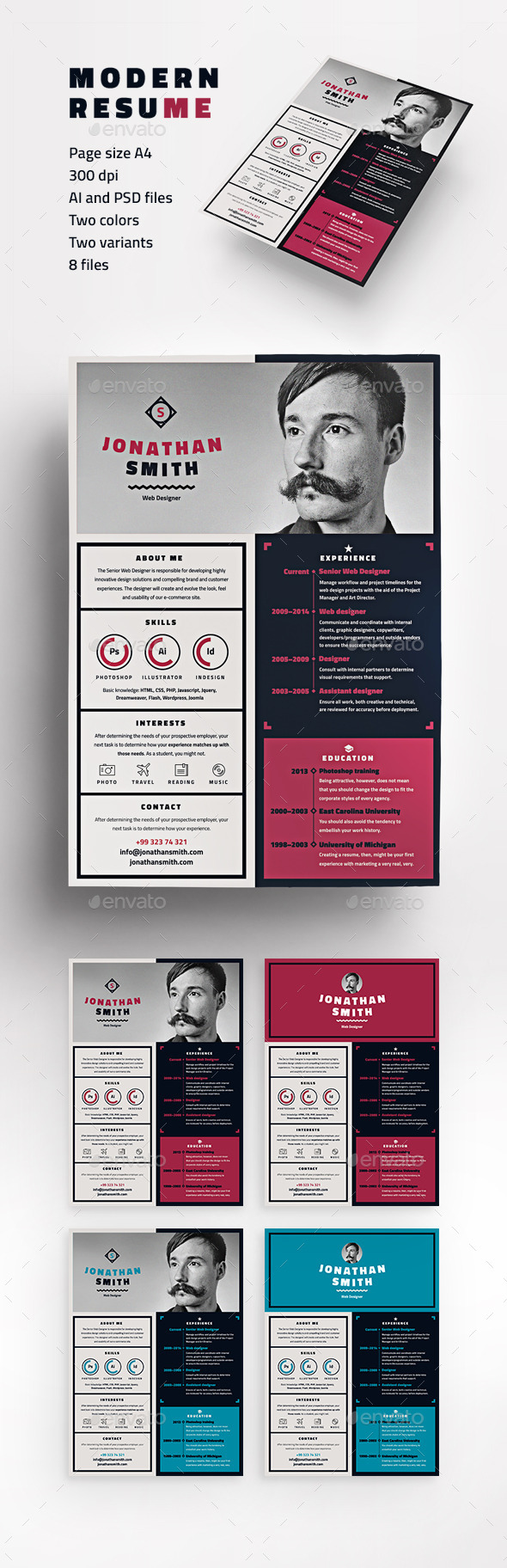 GraphicRiver Modern resume 9462394