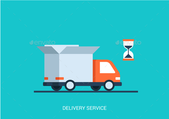 GraphicRiver Abstract truck with open box container hourglass 9510812